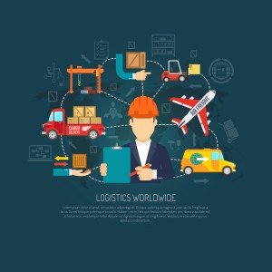 Worldwide logistics company services operator coordinating international cargo transportation and delivery flowchart background poster abstract vector illustration