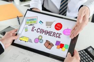 E-commerce concept shown by a businessman