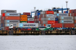 FILE PHOTO: Maersk containers are seen at the Port of Santos, Brazil, September 23, 2019. Picture taken September 23, 2019. REUTERS/Amanda Perobelli/File Photo