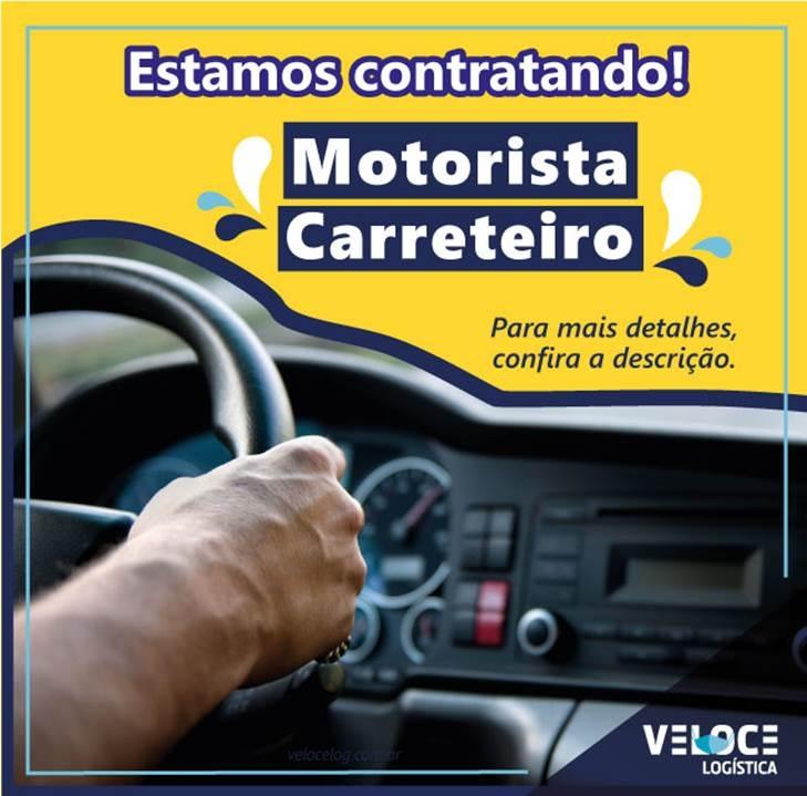 Veloce está contratando motorista carreteiro internacional